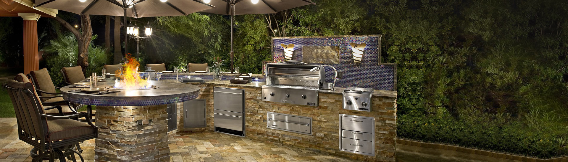 Outdoor kitchens living spaces newport ave landscaping for Ready made outdoor kitchen