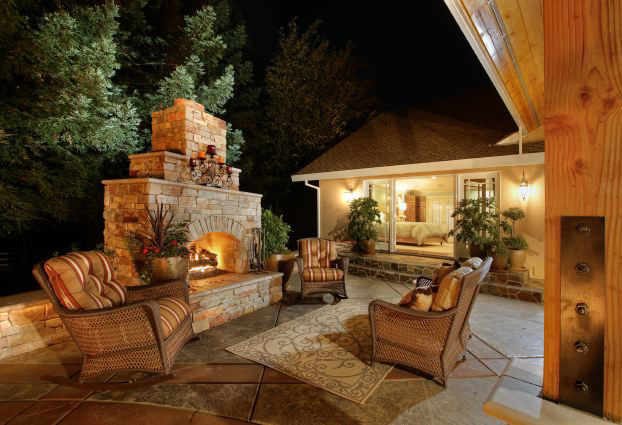 Outdoor kitchens living spaces newport ave landscaping - Outdoor living spaces with fireplace ...